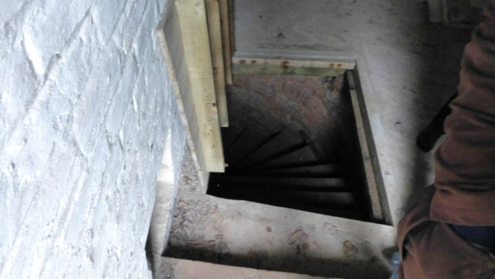 The stairs down to the crypt holding the remains of the Boswell of Auchinlecks