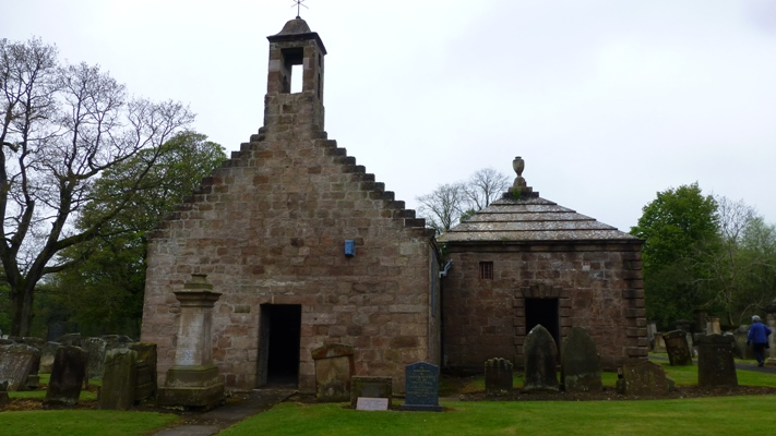 The outside of the Boswell Mausoleum in Auchinleck churchyard